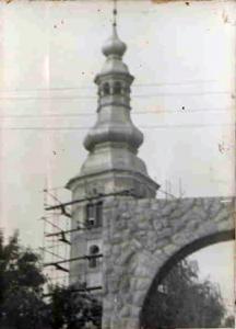 032 Toranj za vrijeme obnove fasada 1976.